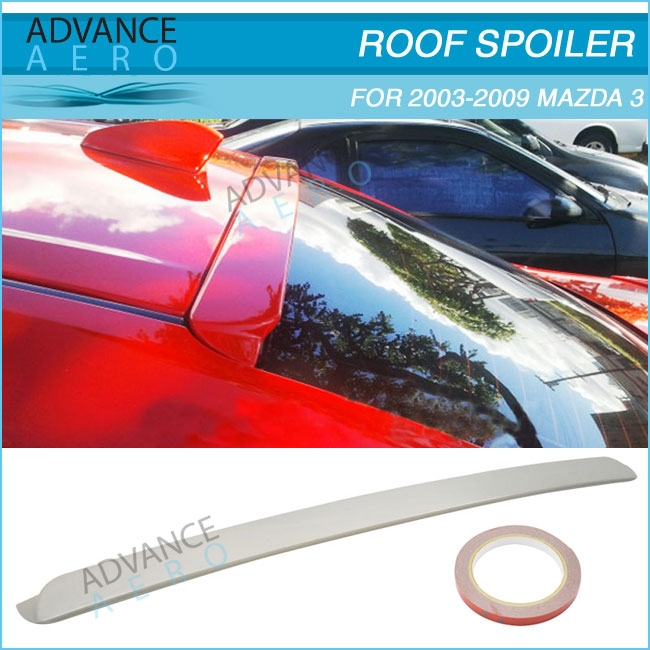 FOR 03-09 Mazda 3 R Style Unpainted ABS Plastic Roof Spoiler