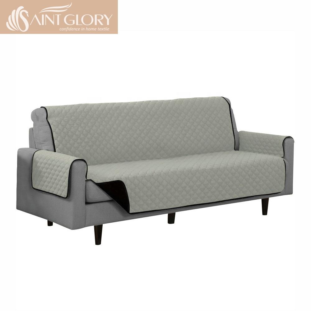 उच्च गुणवत्ता ढकना सोफा कवर सेट रजाई बना हुआ प्रतिवर्ती फर्नीचर रक्षक के साथ लोचदार पट्टा