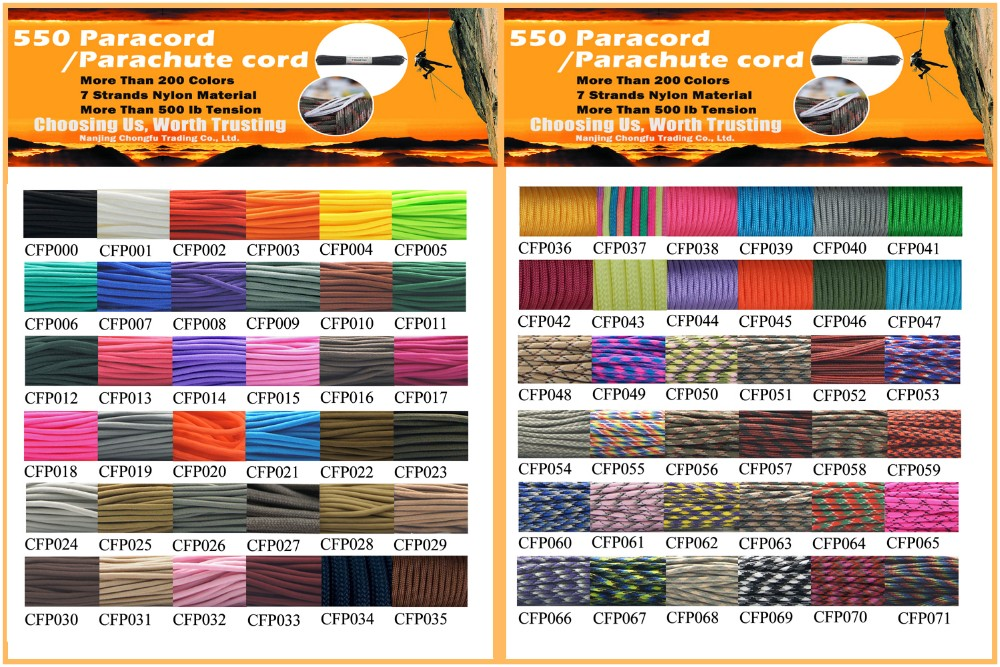 550 Type III Commercial 9 Strand Luminous Glow in the Dark Parachute Cord
