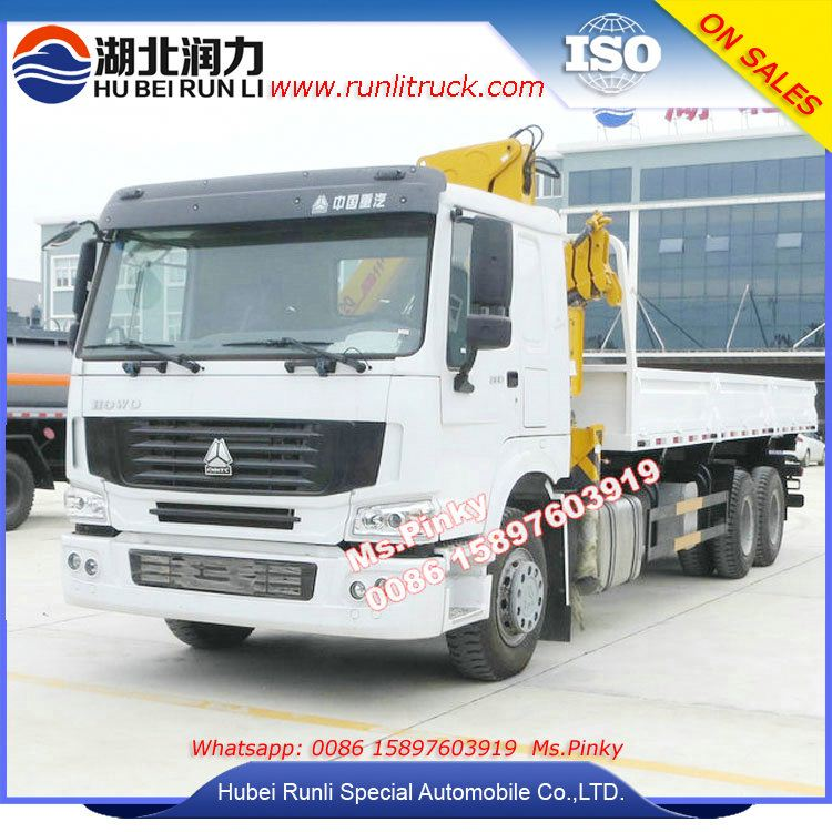 6*4 HOWO Lorry Loading Crane Truck 5Tons 8Tons Knuckled Boom Crane Two sides Self Dumper Cargo Call 0086 15897603919