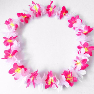 102cm fabric floral hawaii beach garland/artificial flower necklace leis for party decoration/customed color and size wreath