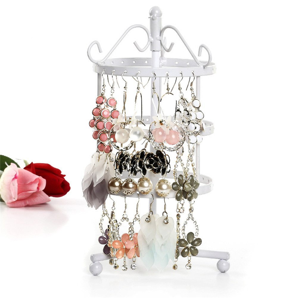 Rotating Jewelry Rack, 72 Holes Three-layer Earring Necklace & Bracelet Organizer Display Stand (White)