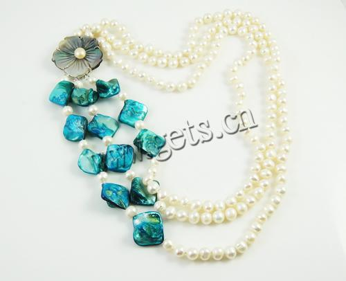 New Shell Freshwater connect Necklace with Shell shell box clasp 3-strand white 6-7mm 25mm Sold Per 15.5-17.5 Strand 449619