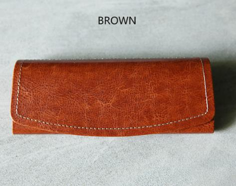 Beautifully Finished Brown Glasses Case Leather Glasses Case with Logo