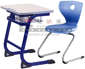 Colorful Primary School Furniture Wooden Single Desk and Chair