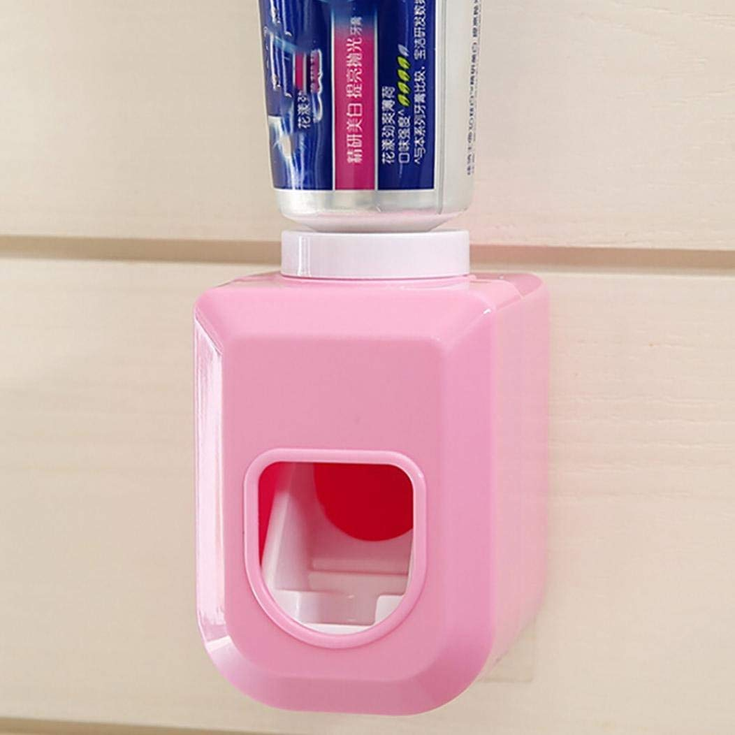 Rumas Automatic Toothpaste Dispenser Wall Mount, Environmlental Toothpaste Squeezer Hands Free Bathroom Tool (Pink)