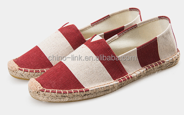 Stripe Pattern Hemp Sole Alpargata Cheap Canvas Shoes Espadrille