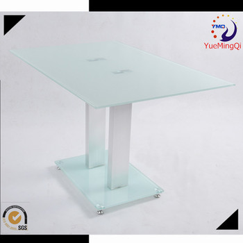 Italian Design Furniture Sand Blast Glass Table Top Extensible Dining Table