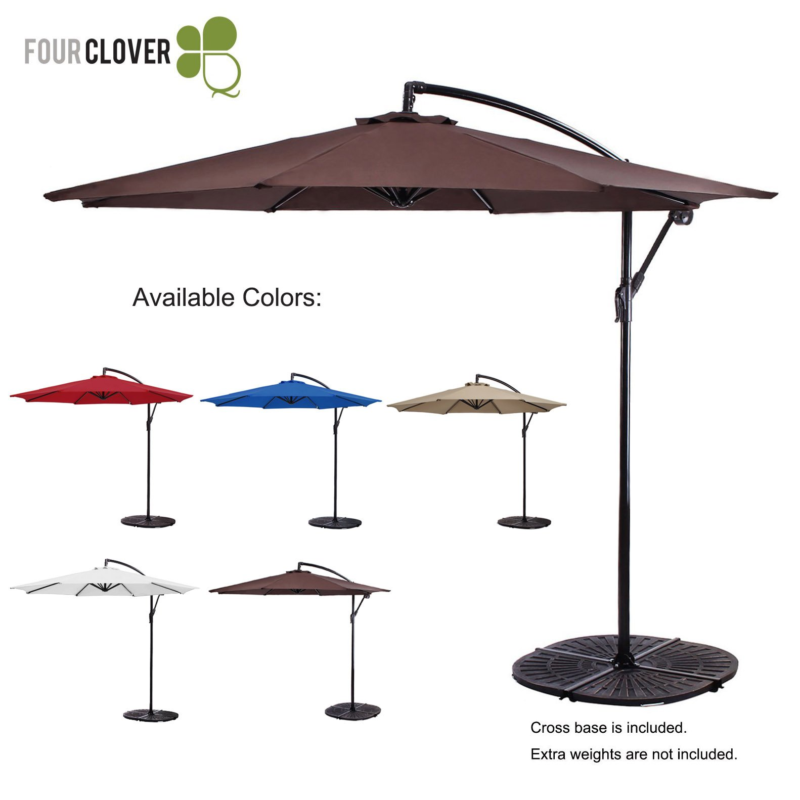 FOUR CLOVER 10 Ft Patio Umbrella Offset Hanging Umbrella Outdoor Market Umbrella Garden Umbrella, 250g/sqm Polyester, with Cross Base and Crank (Brown)