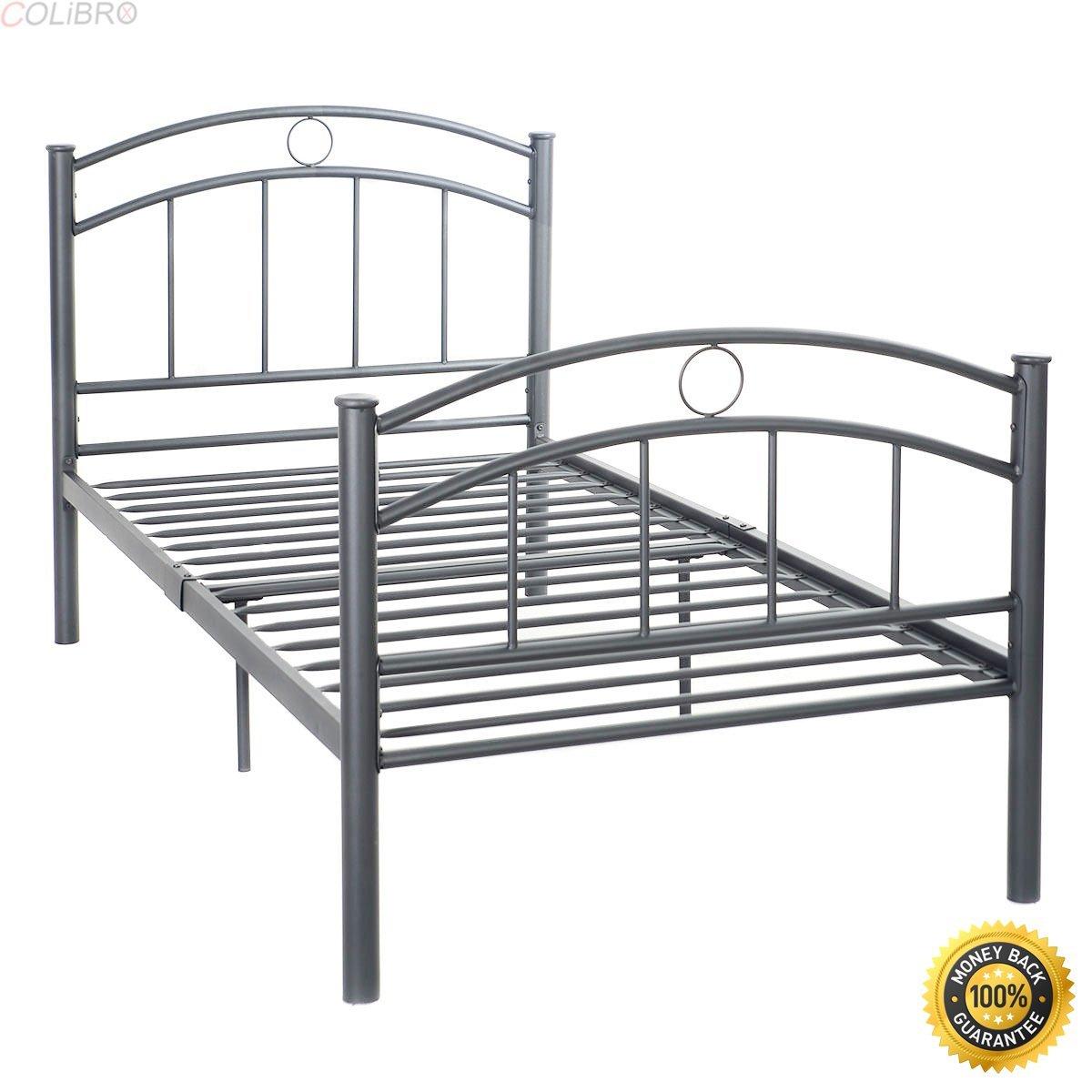 "COLIBROX--83""x42""x35"" Black Metal Bed Frame Platform Twin Size Bedroom Home Furniture New,metal bed frame queen,queen metal bed frame,Black Steel Bed Frame,bed frames full"
