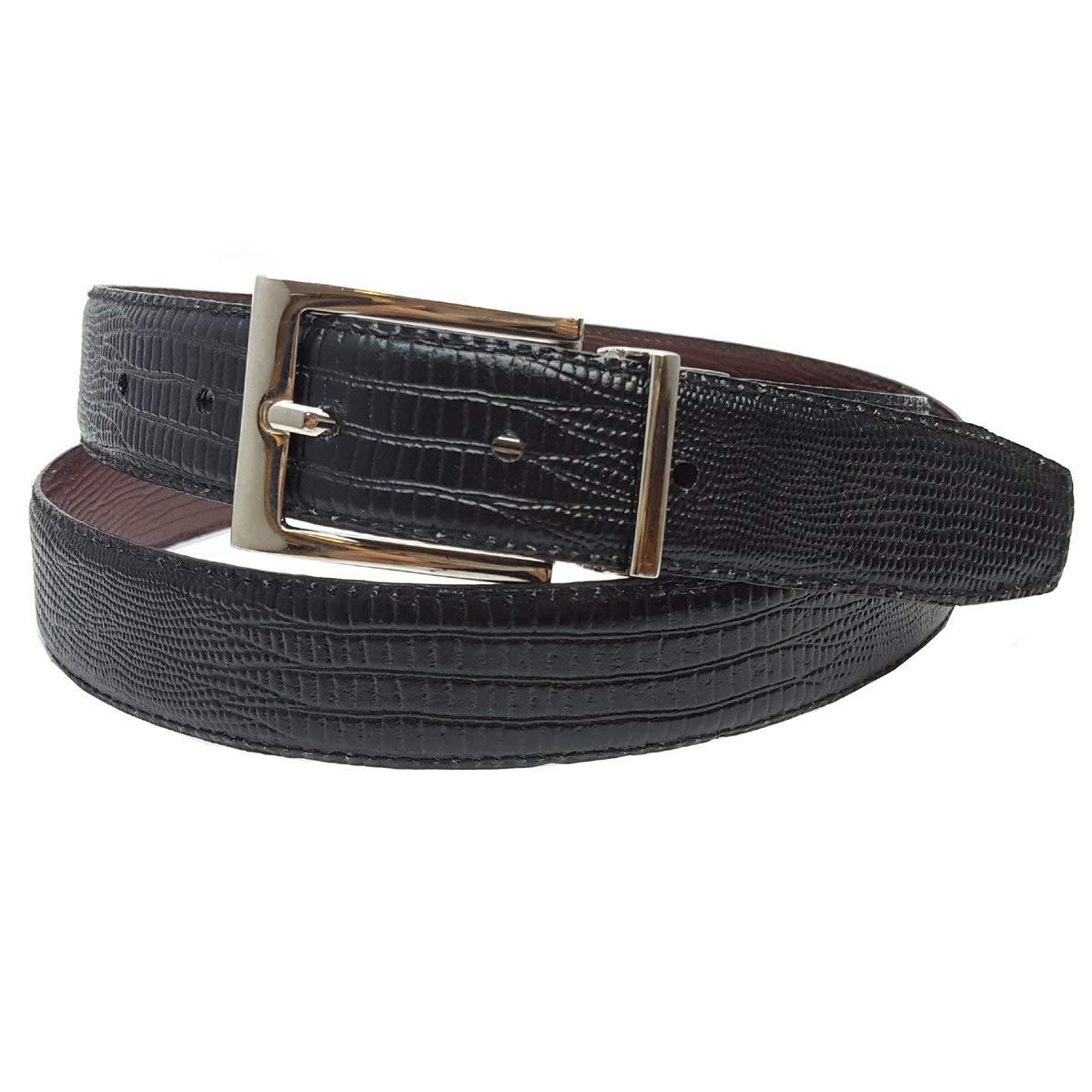 285360442d Get Quotations · Men s Dress Belt Reversible in Lizard Black to Brown