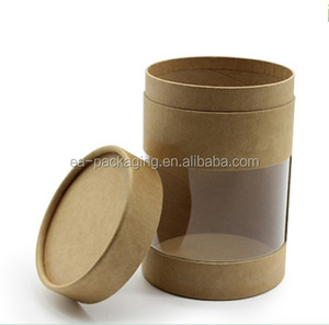 hot selling tea paper tube packaging cardboard box with clear pvc window