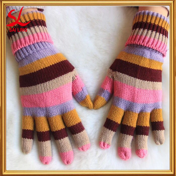 Fashion Accessories Knitted Gloves Women Colorful Stripe Acrylic Mittens For Korea