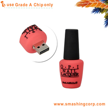 Rose color Nail Polish Bottle Shaped 2GB 2.0 USB Flash Drive with life time warranty