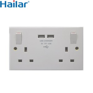USB wall socket UK 13A 2 gang switched socket+2 USB outlet, total USB output 4.8A