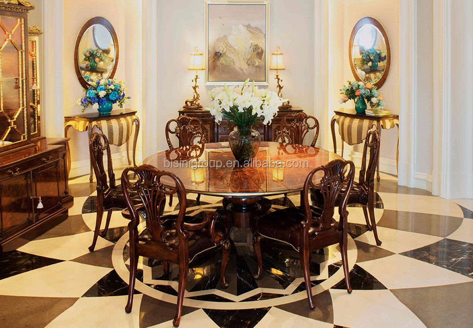Luxury Antique Victorian Style Designed Solid Wood Round Dining Table With  Chippendale Armchairs Bf12 03214b   Buy Luxury Dining Set,Victorian Dining  ...