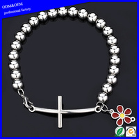 Charm 316l stainless steel high polished bead horizontal sideway lateral cross with flower bracelet bangle for women and men