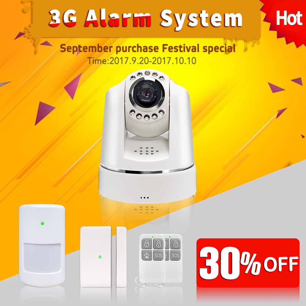 Cheap 30%discount 3G GSM Camera Smoke Gas Fire Home security Alarm system 88wireless zone support APP control