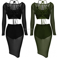Women Summer Casual Party Clubwear Slim Bodycon See Through Knee Length Backless Sexy Sheer Mesh Three Piece Crop Top Dress Sets