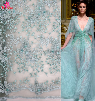 Haute Couture Green Beaded Fabric Lace Wedding Dress Patterns