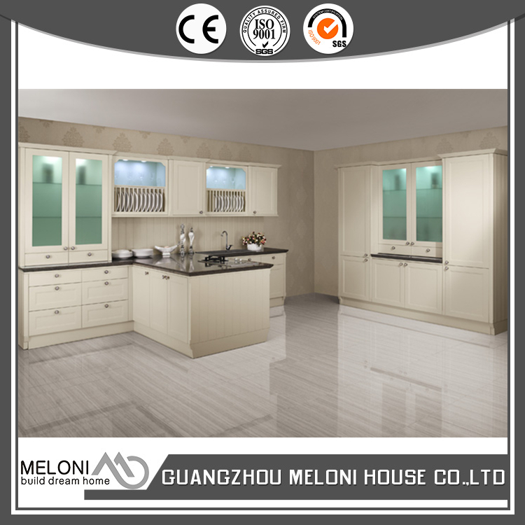 Integrated appliance with shaker panel high gloss pvc kitchen cabinet furniture
