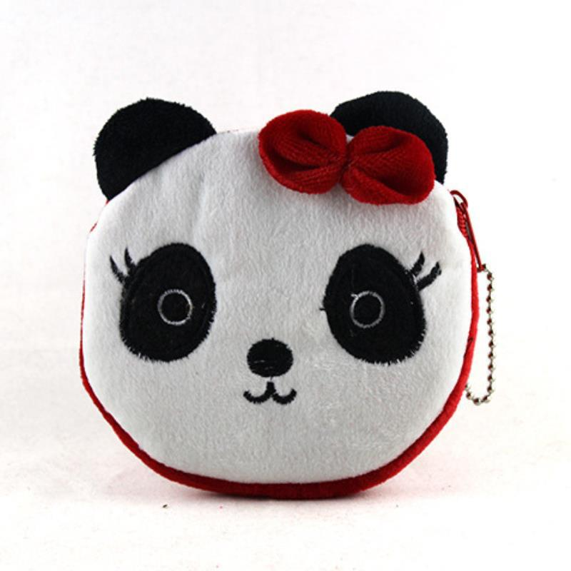 kids cute Red panda Circle soft corduroy zipper zero wallet coin purse women girls key cases card bags handbag