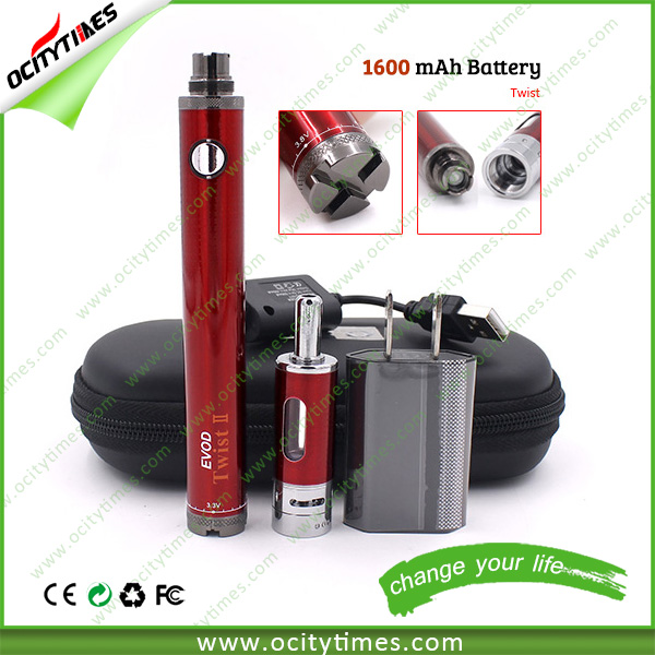 Top seller evod 2 starter kit good refilable perfume atomizer 1600mah e cig battery evod twist 2 kit