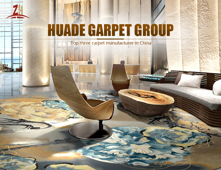 Nylon Printed Carpets For Hotels Blue And Grey Custom Design Wall To Wall Carpet Flooring
