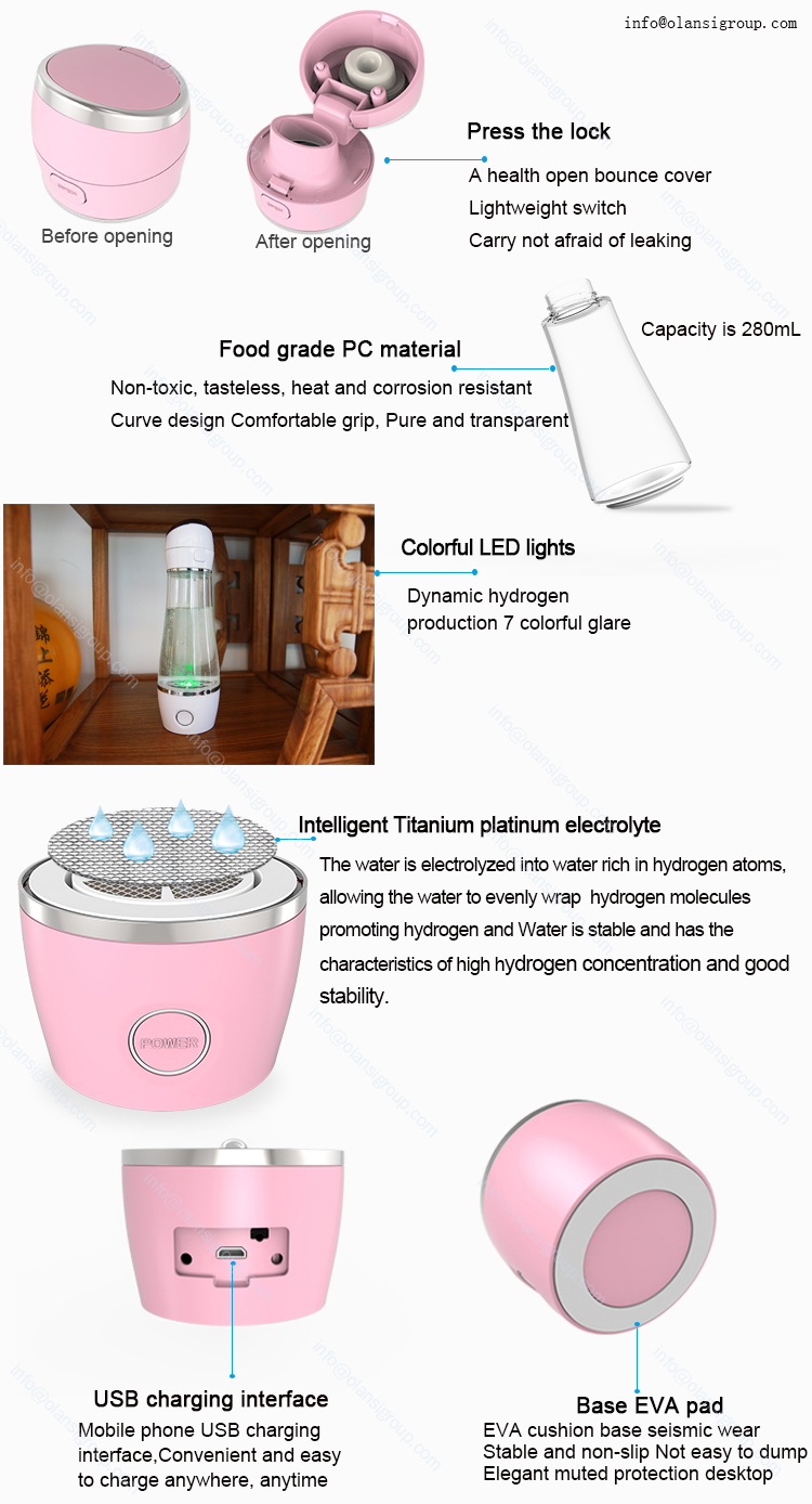 Usb Charging PEM 280Ml Hydrogen Rich Water Bottle Portable Hydrogen Water Generator