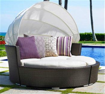 Terrasse Rattan Möbel Solarium, Bali Bett Im Freien, Im Freien Liegen Mit  Baldachin Mr