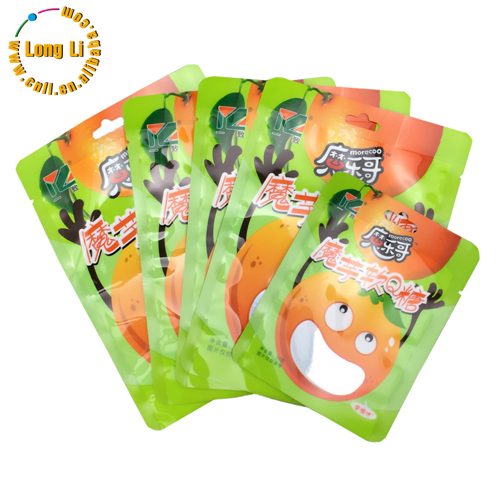Food grade plastic candy snack packaging bag/pouches with printed