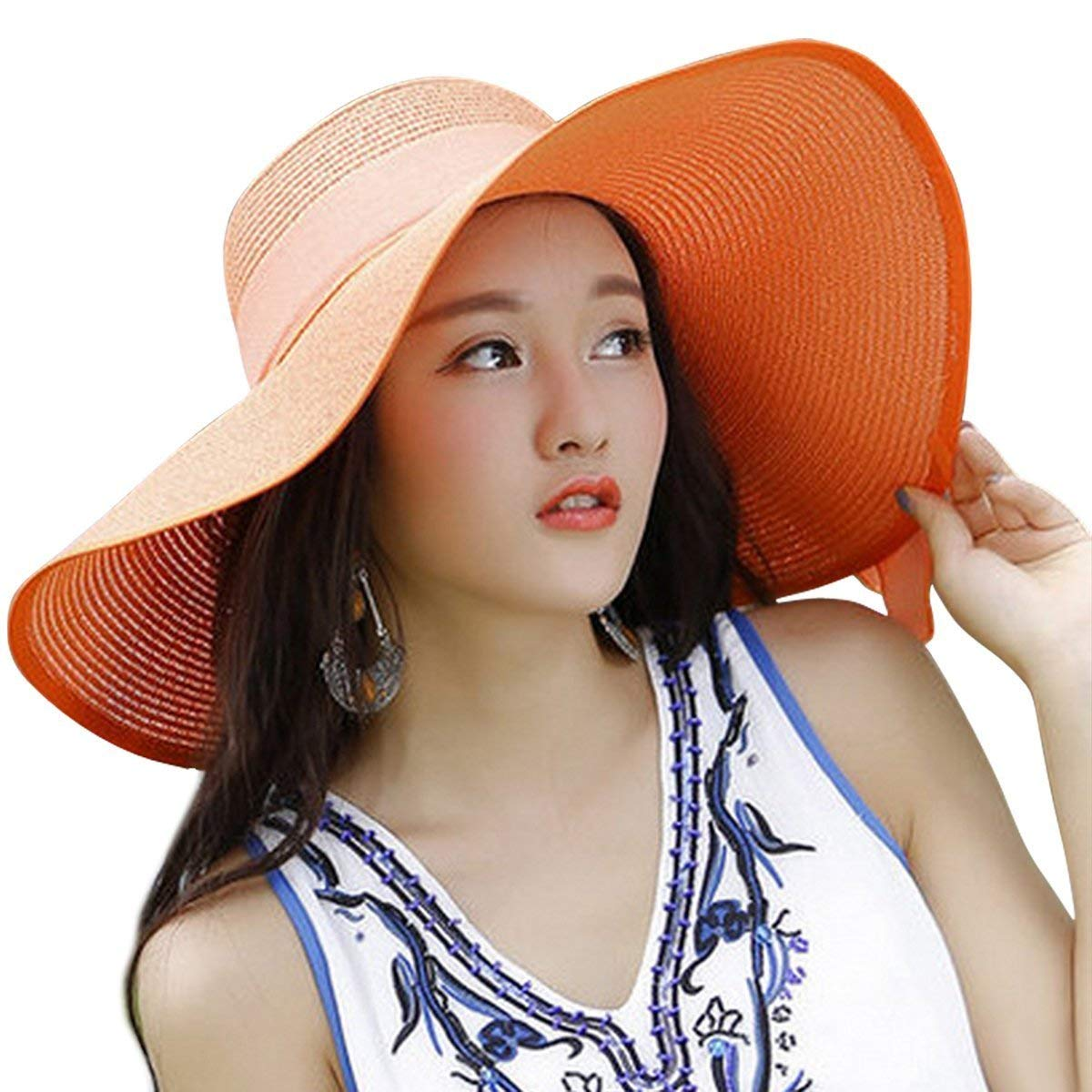 4b8ee4b9172cc Get Quotations · FashionRun Womens Big Bowknot Straw Hat Floppy Foldable  Roll up Beach Cap Sun Hat UPF 50