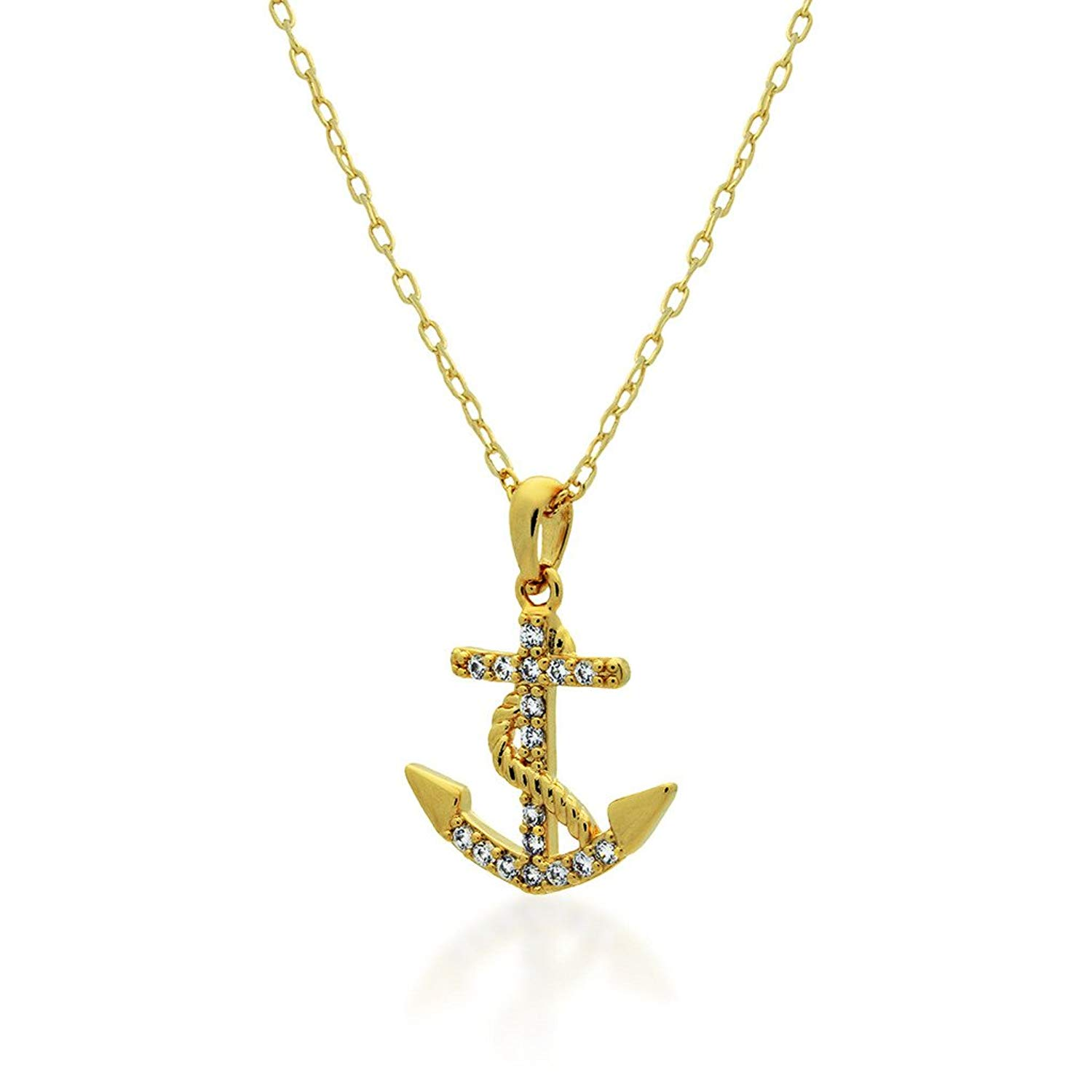 Gold Toned Anchor Pendant Necklace, Sweet Tiny Anchor Necklace, Stylish Modern Womens Jewelry