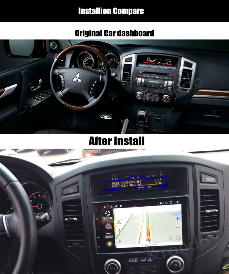 Krando Android 7.1 car radio gps multimedia for mitsubishi pajero V97 V93 2006-2011 navigation system WIFI BT Playstore KD-MT961
