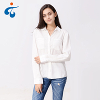 Latest design good quality wholesale casual fancy white blouse for ladies