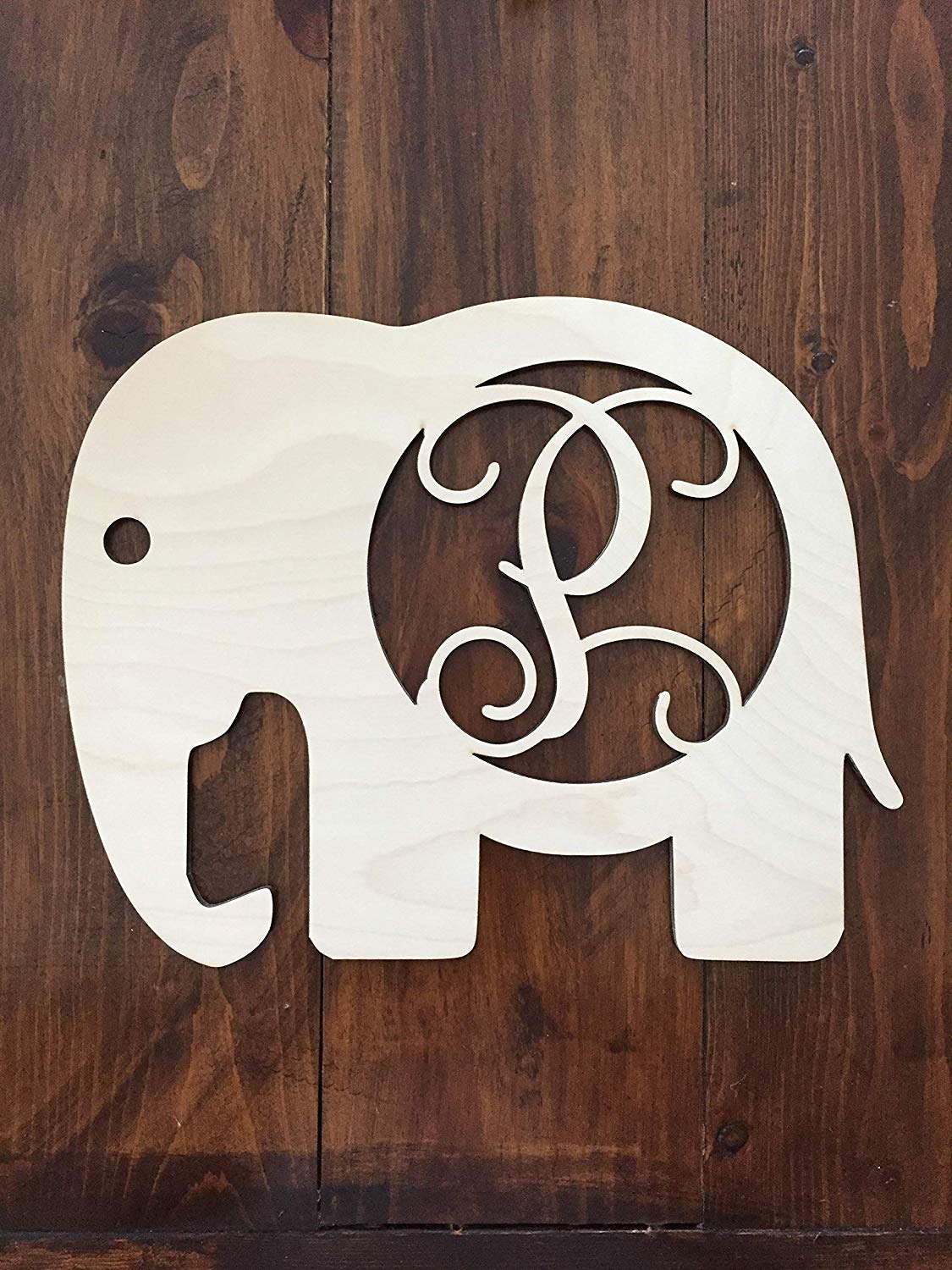 Unfinished Wood Elephant Monogram Hanger - Baby's Room Wall Hanger - Elephant Wall Hanging - Elephant Door Hanger - Wooden Elephant Cutout