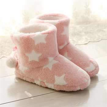 Women Comfortable Plush Warm Soft Sole Indoor Cute House Slippers Boots