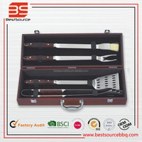4 Piece Grilling Tools Set includes Spatula Tongs Fork Basting Brush & Carrying Case