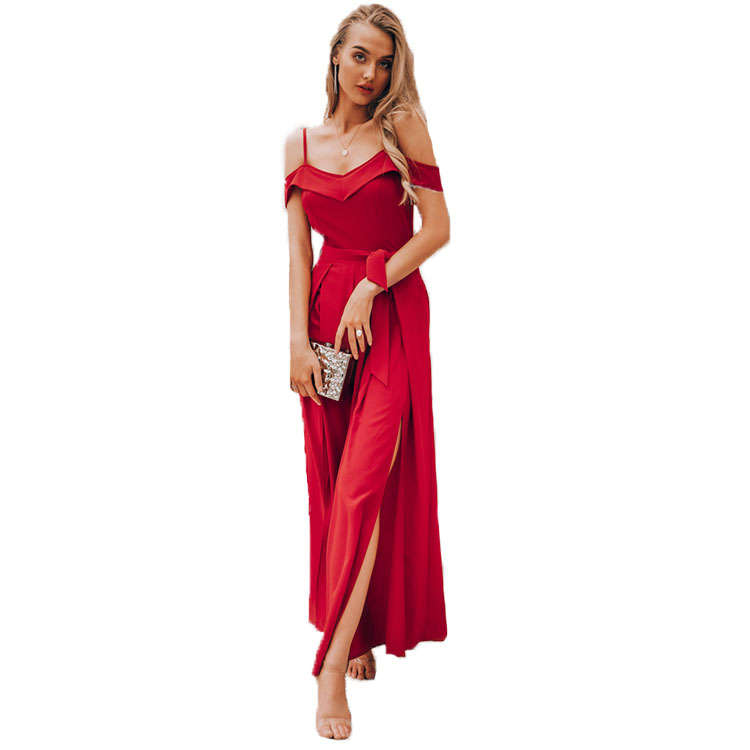 Sommer Sexy Off Schulter Frauen Overall Strampler Elegante Hohe Taille Rot Overall Lange Sommer Breite Bein Dame Overall Overalls 2019