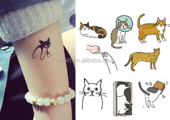 Kucing Desain Kartun Hewan Anak Anak Sementara Tato Buy Kucing
