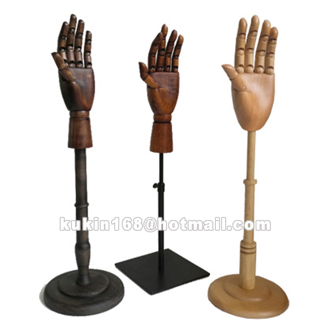 Adjustable mannequin hand with metal base, Mannequin wooden hand used for jewelry display