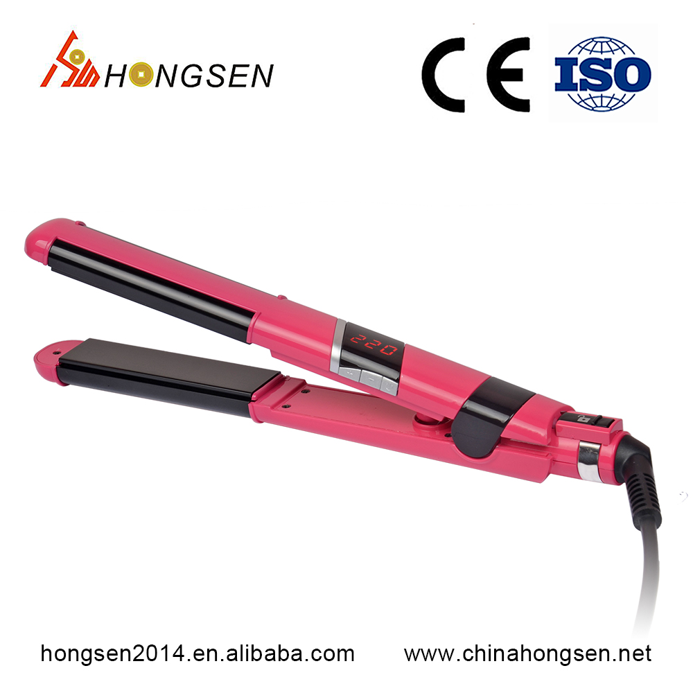 Best quality 450F lcd diaplay <strong>fashionable</strong> fast 2 in 1 hair curling straightening iron