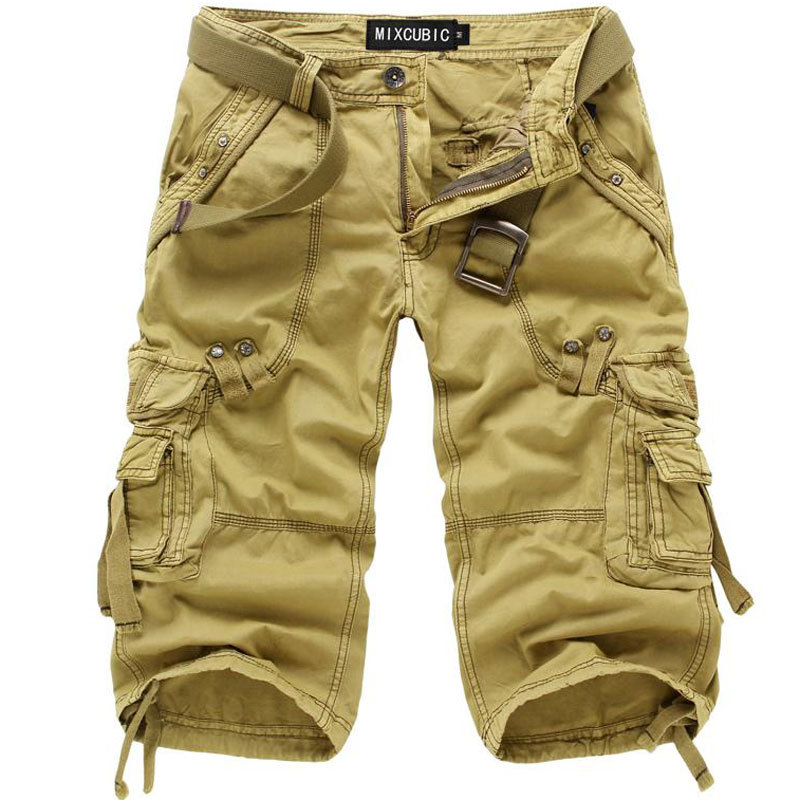93636957b16 New Summer Casual Khaki Cargo Shorts Men Cotton Khaki Cargo Shorts Solid  Beach Short Plus Size Breathable Khaki beach Shorts