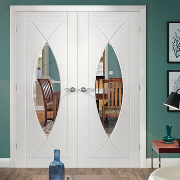Double Swing Kitchen Room Gl Panel Door Leaf Wood Lock Product On Alibaba