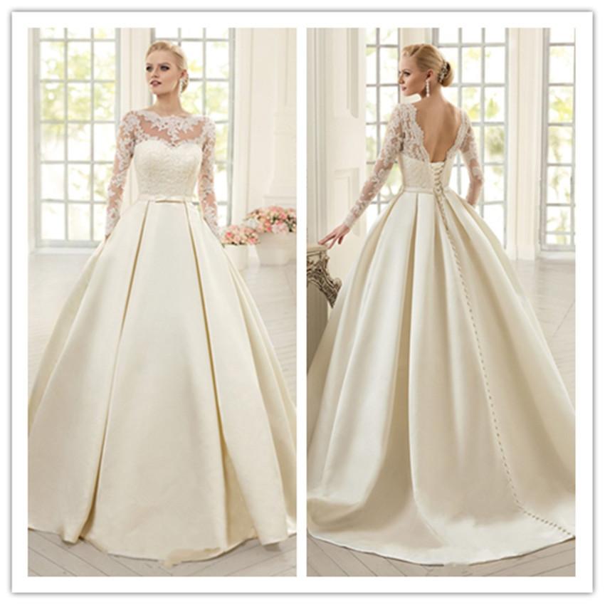 Elegant Silk Wedding Dresses With Sleeves: Aliexpress.com : Buy Elegant Ivory Lace Wedding Dresses