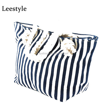 Promotion Design Stripes Canvas Beach Tote Bag in Summer Beach Bag With Rope  Handles 925361a9b37cd