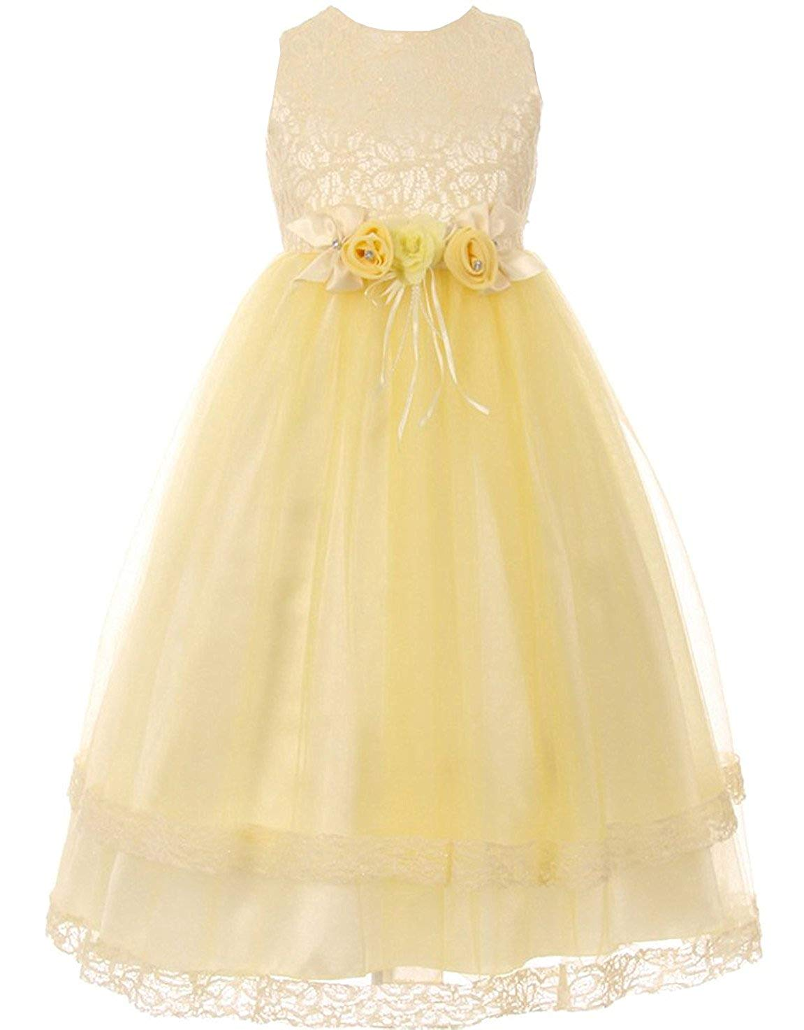 715a40cee92 Get Quotations · iGirldress Little Girls Lace Trim Double Layered Tulle  Flower Girl Dress Size 6Mos-12