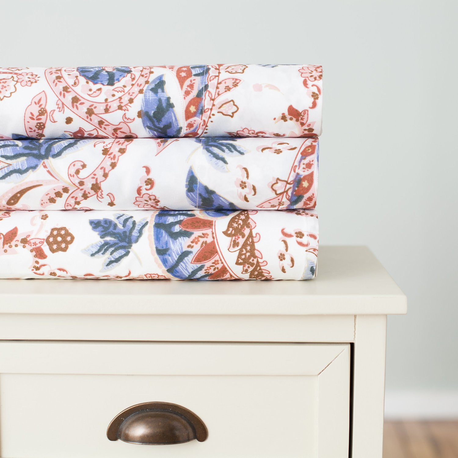 Analisa Collection Super Soft Double Brushed Microfiber Printed Luxury Sheet Set By Home Fashion Designs (Twin, Blue/Brown Paisley)