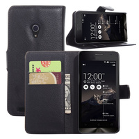 Litchi PU Card Holder Wallet Flip Leather Case For Asus Zenfone 4 A450CG 2014
