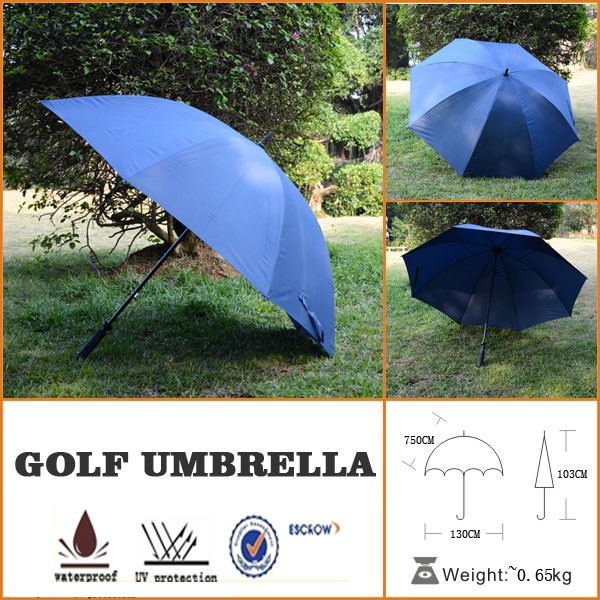 fiberglass windproof navy blue printed wholesale long handle umbrella